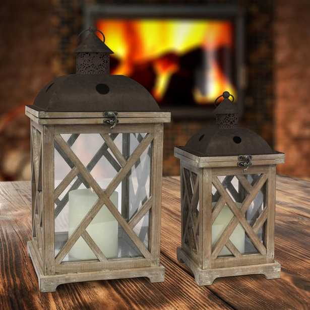 Brown Rustic Wood and Metal Candle Lanterns (Set of 2) - Home Depot