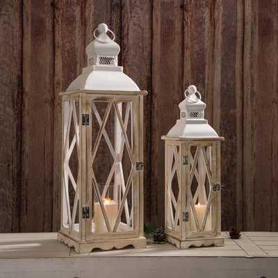 2 Piece Metal/Wood Lantern Set - Birch Lane