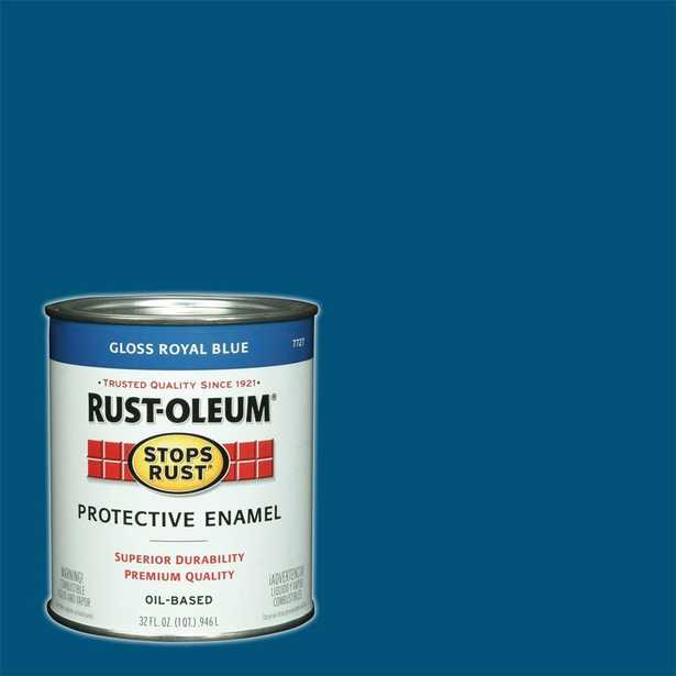 Rust-Oleum Stops Rust 1 qt. Gloss Royal Blue Protective Enamel Paint (Case of 2), Blues - Home Depot