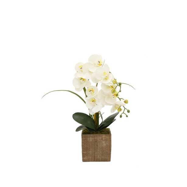 Faux Orchid White Flower Pot - Home Depot