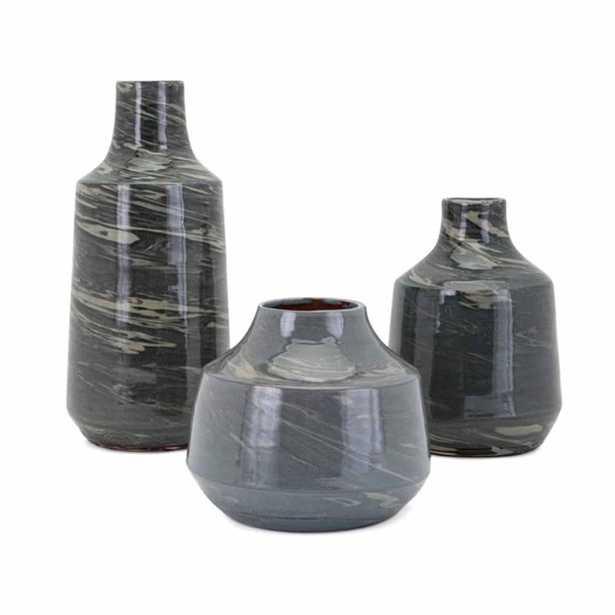 IMAX Stuart Green Vases (Set of 3) - Home Depot