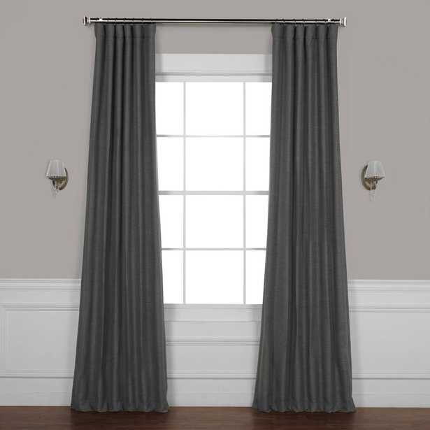 Exclusive Fabrics & Furnishings Armour Grey Gray Bellino Blackout Curtain - 50 in. W x 96 in. L - Home Depot