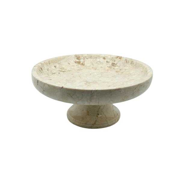 10 in. x 10 in. x 4.375 in. Fruit Bowl on Pedestal in Champagne Marble - Home Depot