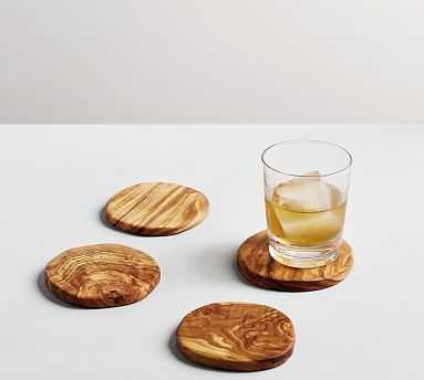 Olive Wood Coasters, Set of 4 - Pottery Barn