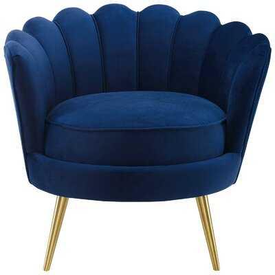 Demers Scalloped Edge Performance Velvet Accent Barrel Chair - Wayfair