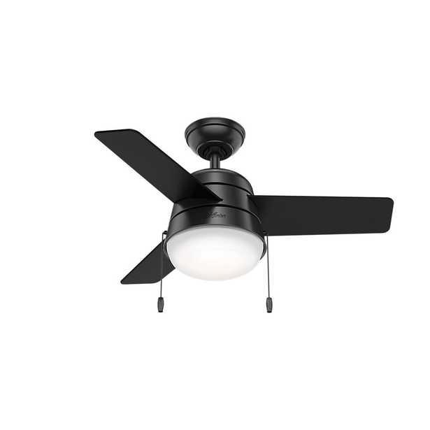 Hunter Aker 36 in. LED Indoor Matte Black Ceiling Fan with Light - Home Depot
