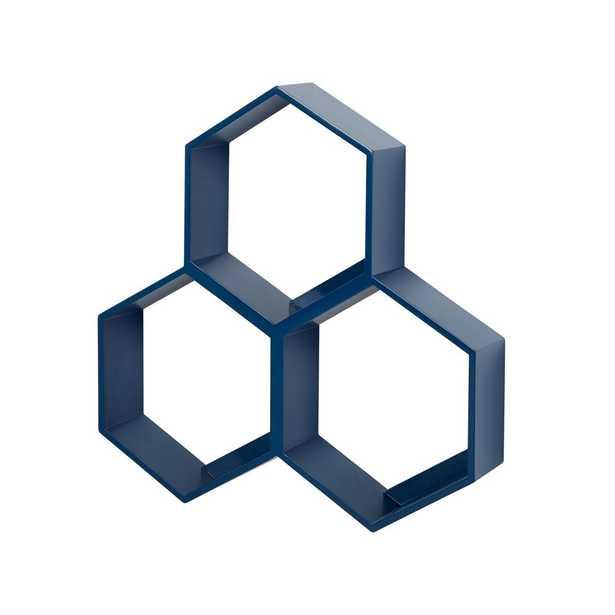 Honeycomb Blue Hexagon Shelf - Crate and Barrel