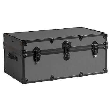 Canvas Dorm Trunk with Black Trim, Standard, Charcoal - Pottery Barn Teen