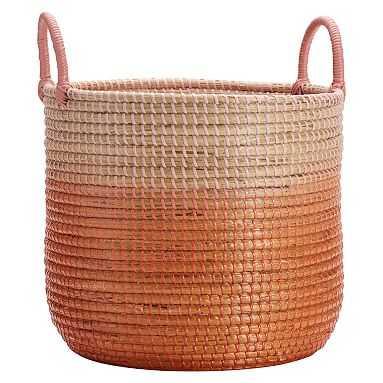 Woven Seagrass Storage Baskets, Medium, Single, Blush Ombre - Pottery Barn Teen