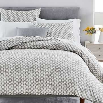 Organic Stamped Dot Duvet Cover, King/Cal. King, Frost Gray - West Elm