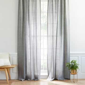 "Semi-Sheer Belgian Flax Linen Melange Curtain, Blackout Lining, Slate, 48""X96"" - West Elm"