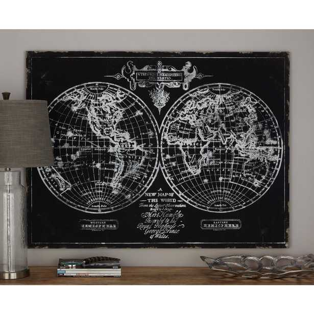 36 in. x 48 in. World Hemisphere Map Printed Framed Canvas Wall Art - Home Depot