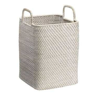 Whitewash Modern Weave Collection, Handled Basket - West Elm