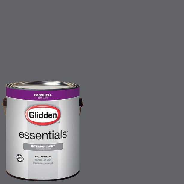 Glidden Essentials 1 gal. #HDGCN39D Dark Grey Silk Eggshell Interior Paint - Home Depot