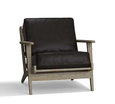 Raylan Leather Armchair, Down Blend Wrapped Cushions, Vintage Midnight - Pottery Barn