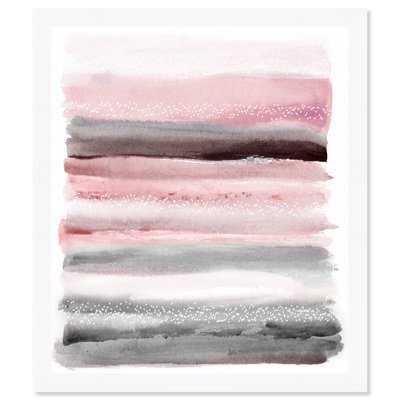 'Pink Sunset' Framed Watercolor Painting Print - AllModern