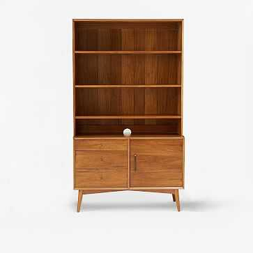 Mid Century Wide Hutch + Console (Small Console, Wide Hutch), Acorn - West Elm