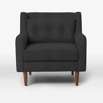 Crosby Arm Chair, Heathered Tweed, Charcoal - West Elm