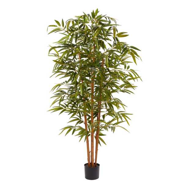 Pure Garden 72 in. Artificial Bamboo Plant with Pot - Home Depot