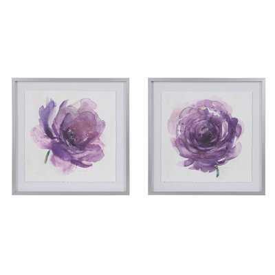 'Purple Ladies Rose' 2 Piece Framed Watercolor Painting Print Set on Paper - Wayfair