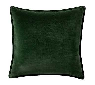 Washed Velvet Pillow, 20 Inches, Hunter - Pottery Barn