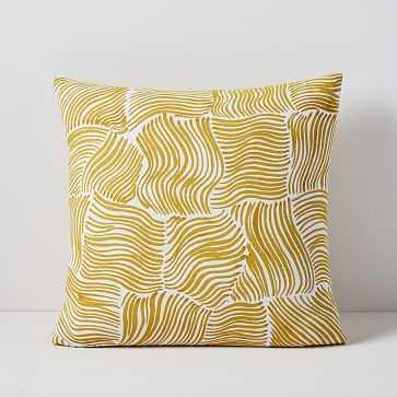 """Samuji Ripples Pillow Cover, 18""""x18"""", Golden Yellow - West Elm"""