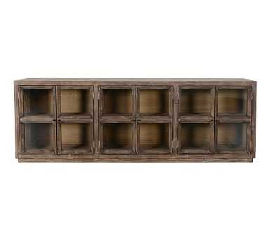 Webb Glass Media Console, Light Washed Reclaimed Pine - Pottery Barn