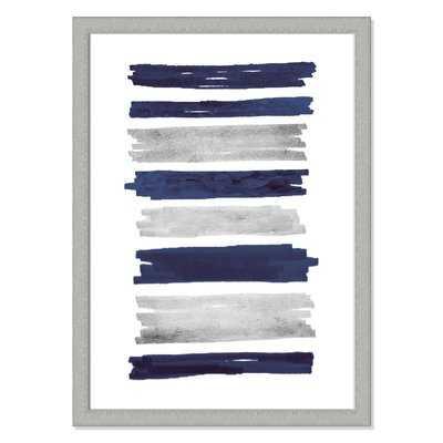 'Indigo Paint Streaks' Framed Acrylic Painting Print - Wayfair