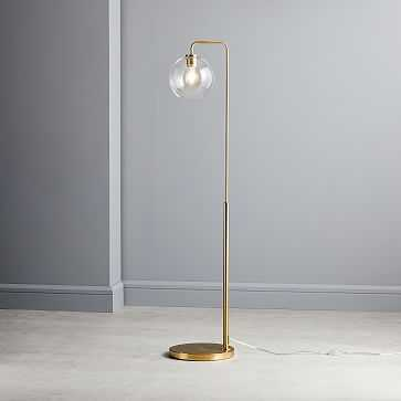 Sculptural Glass Globe Floor, Small Globe, Clear Shade, Brass Canopy - West Elm