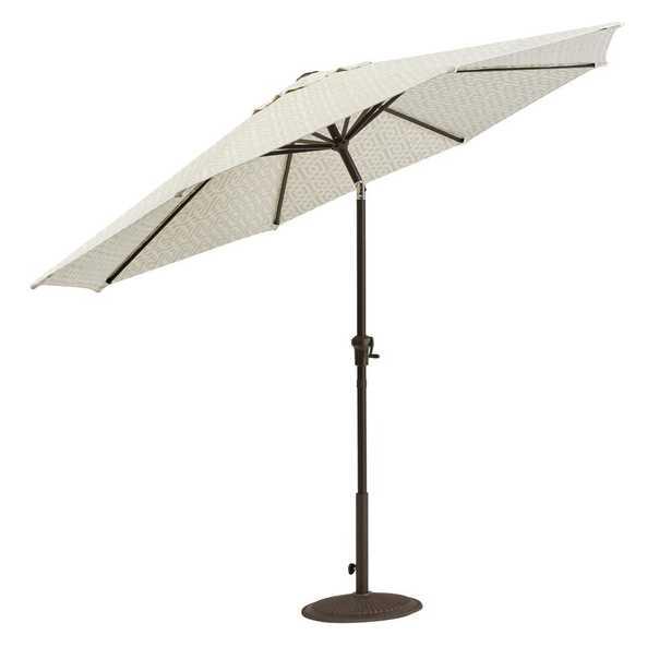 Home Decorators Collection Camden 9 ft. Aluminum Crank Patio Umbrella in Fretwork Flax - Home Depot