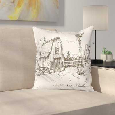 Windmill Decor Rustic Farmhouse Square Pillow Cover - Wayfair