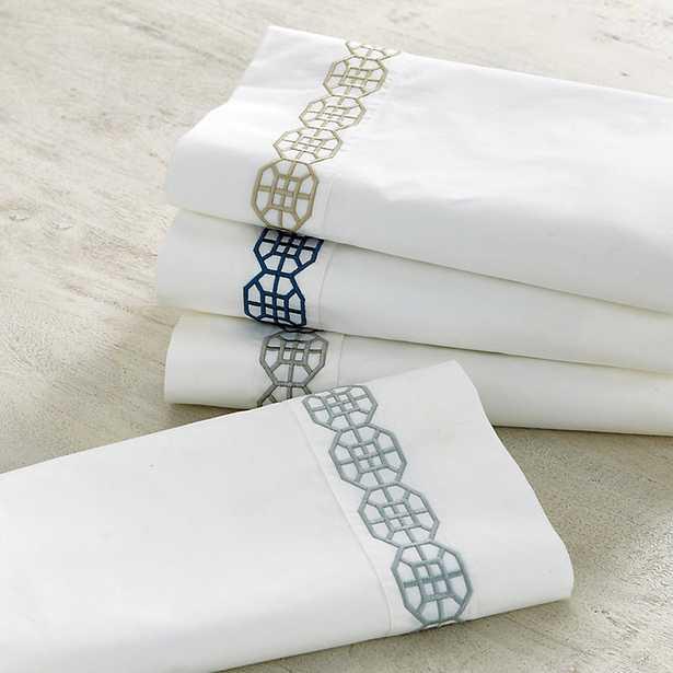Ballard Designs Nottingham Embroidered Percale Sheet Set Spa King - Ballard Designs