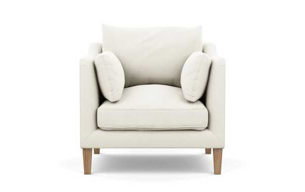 Caitlin by The Everygirl Petite Chair with White Ivory Fabric and Natural Oak legs - Interior Define
