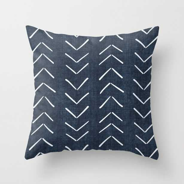 "Mud Cloth Big Arrows in Navy Throw Pillow - Indoor Cover (18"" x 18"") with pillow insert by Beckybailey1 - Society6"