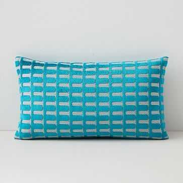 "Cut Velvet Archways Lumbar Pillow Cover, 12""x21"", Blue Teal - West Elm"