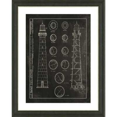 'Slate Lighthouse Patent IV' Framed Graphic Art Print - Wayfair