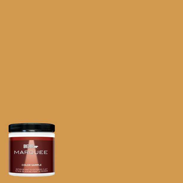 BEHR MARQUEE 8 oz. #PPU6-02 Saffron Strands Matte Interior/Exterior Paint and Primer in One Sample - Home Depot
