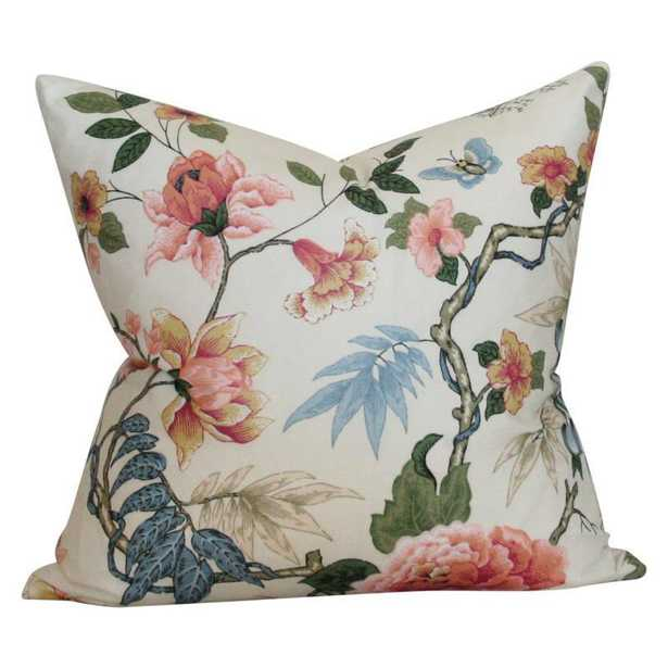 Anshun Paprika and Blue - 18x18 pillow cover / pattern on front, solid on back - Arianna Belle