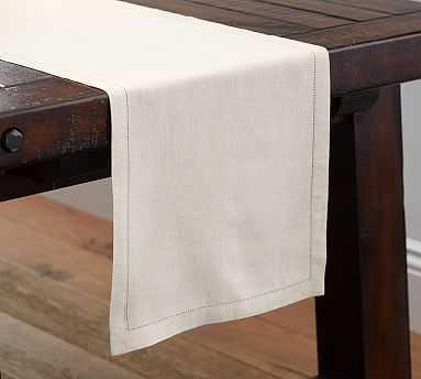 "PB Classic Linen Hemstitch Table Runner, 16 x 126"", Flax - Pottery Barn"