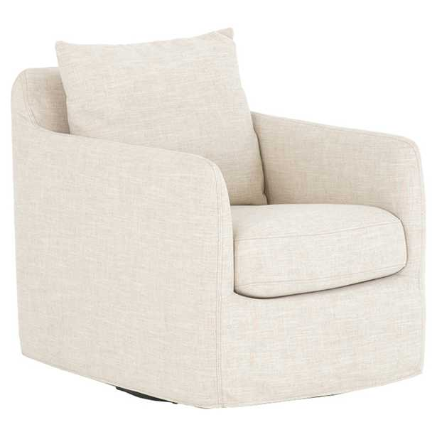 Aimee Modern Classic Ivory Upholstered Swivel Sofa Living Room Chair - Kathy Kuo Home