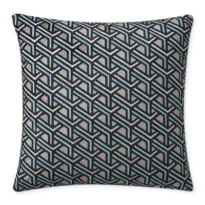 "Park Ave Jacquard Pillow Cover, 22"" X 22"", Blue - Williams Sonoma"