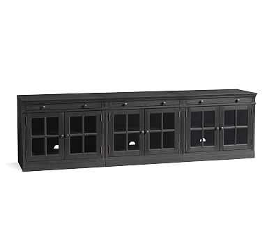 Livingston Large TV Stand with Glass Doors, Dusty Charcoal - Pottery Barn