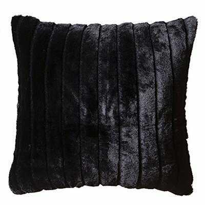 "Whitecliff Faux Fur Throw Pillow 18""x18"" With Insert, Black Striped Mink - Wayfair"