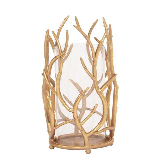 Gold Branches Hurricane Candle Holder Small - Home Depot