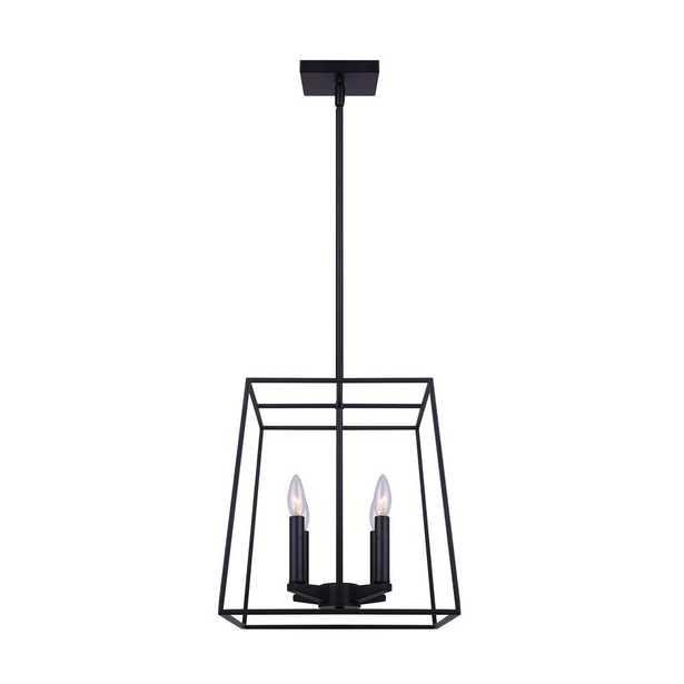 CANARM Wexford 4-Light Matte Black Chandelier - Home Depot