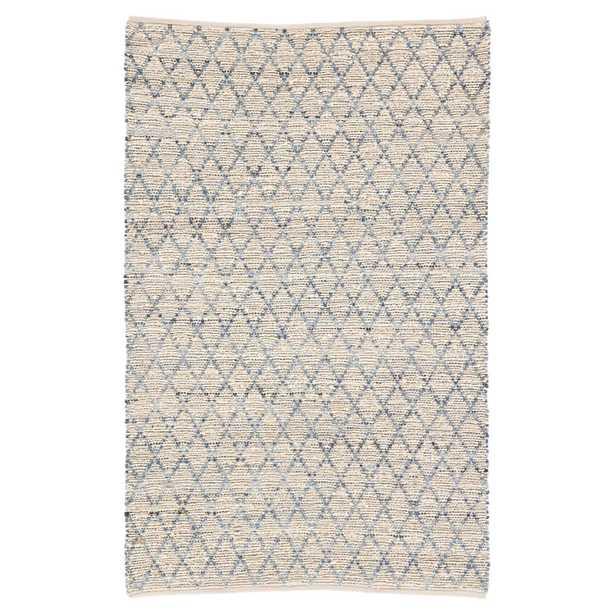 Peter Modern Beige Blue Natural Jute Trellis Pattern Rug - 5' x 8' - Kathy Kuo Home