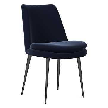 Finley Dining Chair, Low Back, Gunmetal Leg, Distressed Velvet, Ink Blue, Gunmetal - West Elm