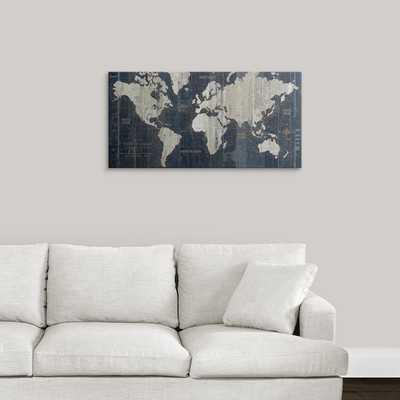 'Old World Map Blue' Graphic Art Print - Wayfair