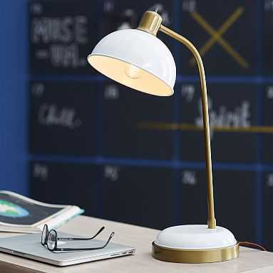 Kennedy Task Lamp with USB, White, CFL - Pottery Barn Teen
