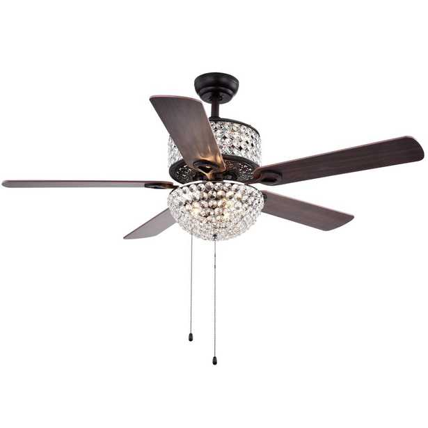 Warehouse of Tiffany Laure Crystal 52 in. Indoor Incandescent Brown Ceiling Fan with Light Kit - Home Depot